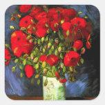 Van Gogh Vase met de Rode Stickers van Papavers