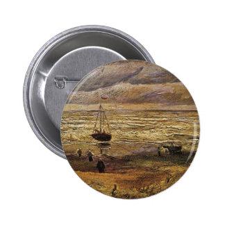 Van Gogh View van Zee in Scheveningen, Fijn Art. Ronde Button 5,7 Cm
