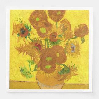 Van Gogh Vijftien Zonnebloemen in een Fijn Art. Wegwerp Servetten