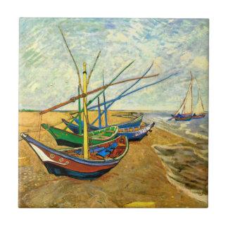 Van Gogh Vissersboten op Strand in Saintes Maries Tegeltje