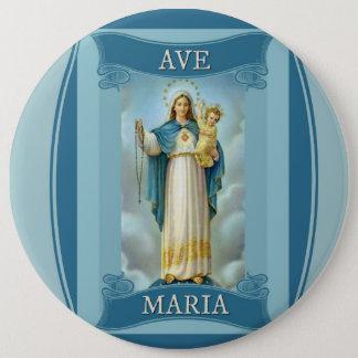Van het AVE de VIRGIN MARY CHRIST CHILD Rozentuin Ronde Button 6,0 Cm