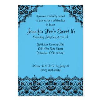 Van het baby Blauwe en Zwarte Elegante Sweet16- 12,7x17,8 Uitnodiging Kaart