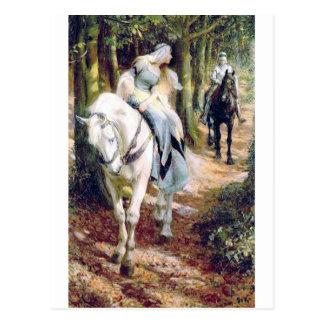 Van het de dame witte paard van de ridder briefkaart