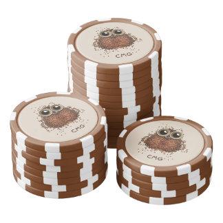 Van het de douanemonogram van de Uil van de koffie Pokerchips