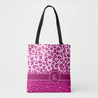 Van het de druk hete roze monogram van de luipaard draagtas