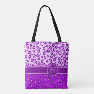 Van het de druk paarse monogram van de luipaard draagtas