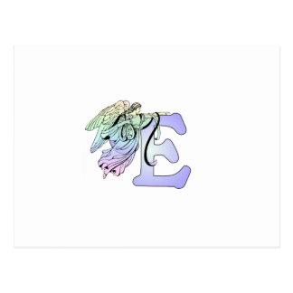 Van het de engelenmonogram van de brief E het Briefkaart