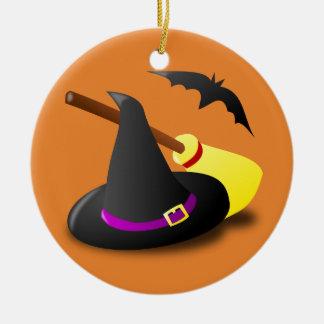 Van het de heksenpet van Halloween de bezem en de Rond Keramisch Ornament
