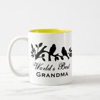 Van het de mussensilhouet van de Oma van de wereld Tweekleurige Koffiemok