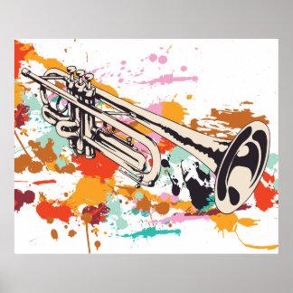 Van het de muziekinstrument van de trompet het poster