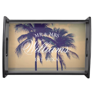 Van het de palmstrand van de douane tropische het dienblad