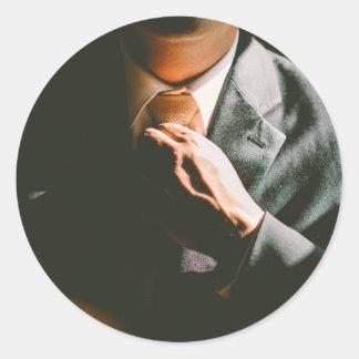Van het de zakenmanstropdas van het kostuum de ronde sticker