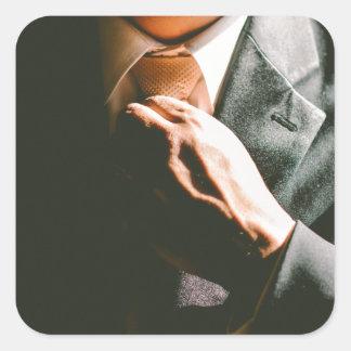 Van het de zakenmanstropdas van het kostuum de vierkante sticker