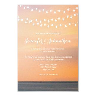 Van het de zonsondergangstrand van de perzik het 8,9x12,7 uitnodiging kaart