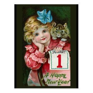 """Van het """"gelukkige Meisje van het Nieuwjaar"""" het Briefkaart"""