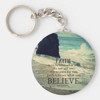 Van het het citaatstrand van het geloof de basic ronde button sleutelhanger