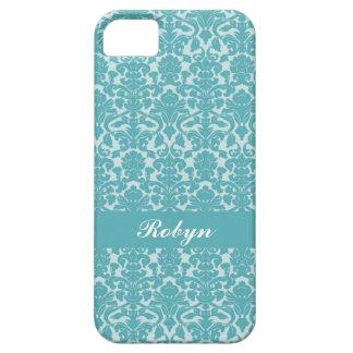 Van het het damastpatroon van Robin blauwe persoon Barely There iPhone 5 Hoesje