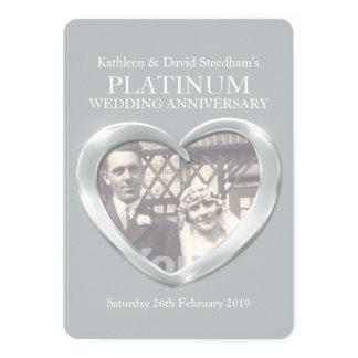 Van het het huwelijkshart van het platina de de 12,7x17,8 uitnodiging kaart
