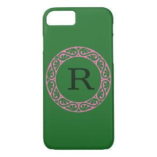 Van het monogram Groene I telefoon 6 van het iPhone 7 Hoesje