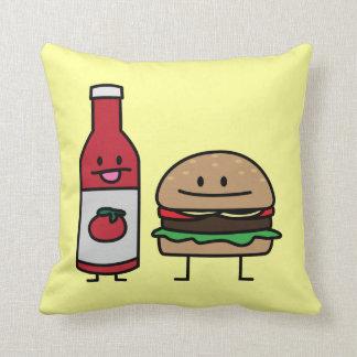 Van het snelle voedselvrienden van de hamburger en sierkussen