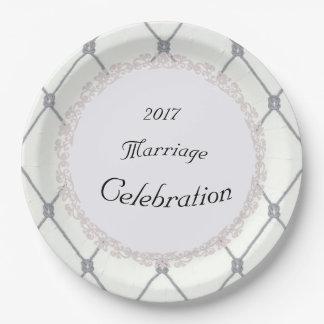 Van het wit-diamant-zilveren-kabel-huwelijk (c) de papieren bordje
