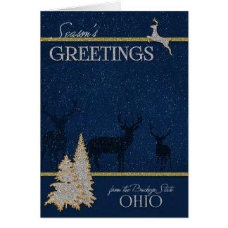 van Ohio Kerstmis van de Staat Buckeye Kaart