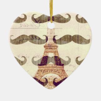 Van Parijs met snor Keramisch Hart Ornament