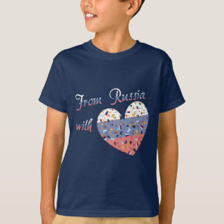 Van Rusland met liefdeTekst en Russisch Hart T Shirt