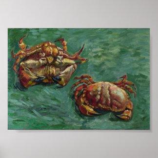 Van twee Krabben (F606) Van Gogh het Fine Art. Poster