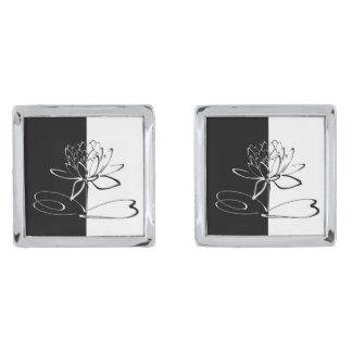 Van Yin de Zwarte Witte Lotus Bloesem van Yang Verzilverde Manchetknopen