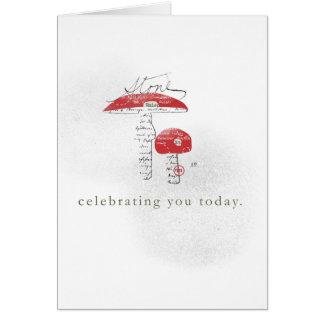 vandaag vierend u met paddestoel wenskaart