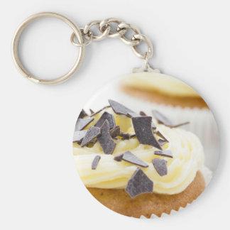 Vanille Cupcake Basic Ronde Button Sleutelhanger