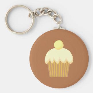 Vanille Cupcake op Bruin Sleutel Hangers