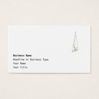 Varende boot. Schets in Zwart-wit. Visitekaartjes