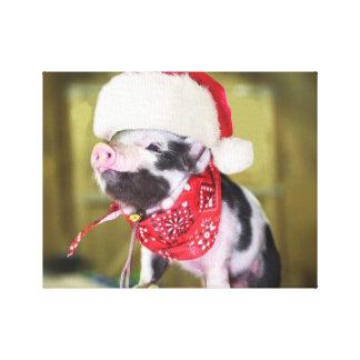 Varken de Kerstman - Kerstmisvarken - biggetje Canvas Print