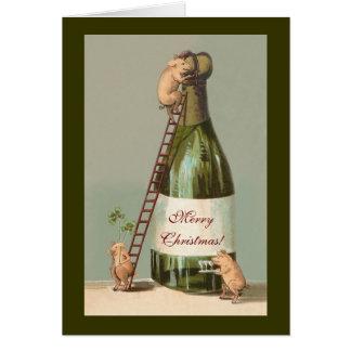 Varkens en Champagne; Grappige Vintage Kerstmis Kaart