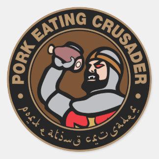 Varkensvlees dat Kruisvaarder eet Ronde Sticker