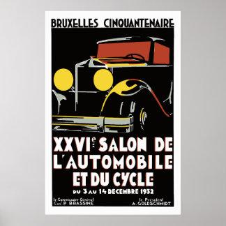 Vector de jaren '30 autosalon van art decoBrussel Poster