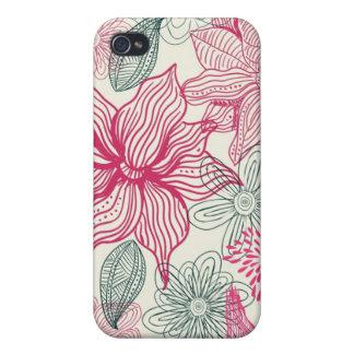 vector iphone 4 van krabbelbloemen speckgeval