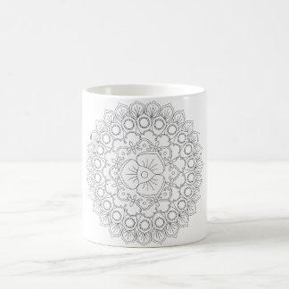 Vector Mooie Mandala, het Gevormde Element van het Koffiemok