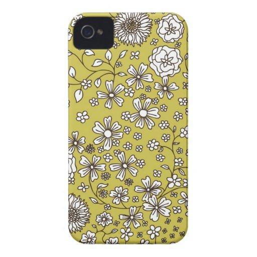 Vector Zwart-witte Bloemen op Groen iPhone 4 Hoesje