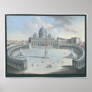 Veduta del Tempio e Piazza Di S. Pietro Rome Poster
