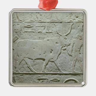 Veehoeder die een stier leiden zilverkleurig vierkant ornament
