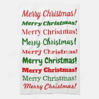 """Veel """"Vrolijke Kerstmis!"""" in Rood of Groen Theedoek"""