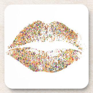 Veelkleurig schitter Lippen #15 Drankjes Onderzetters