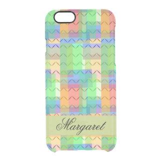 Veelkleurige vierkanten, chevronpatroon, monogram doorzichtig iPhone 6/6S hoesje