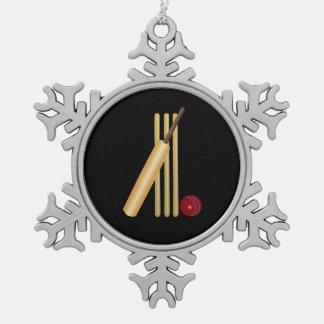 Veenmol - Wicket, Knuppel en Bal op Zwarte Tin Sneeuwvlok Ornament