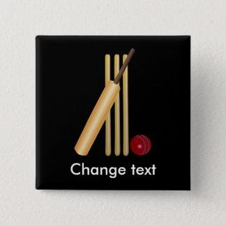 Veenmol, wicket, knuppel en bal vierkante button 5,1 cm