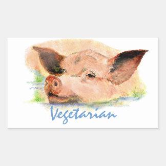 Vegetariër met het Leuke Varken van de Waterverf Rechthoekige Sticker