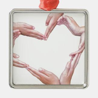 Vele wapens van meisjes construeren hart op wit zilverkleurig vierkant ornament